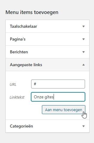 Hoe hoofdmenu item zonder link toevoegen in WordPress