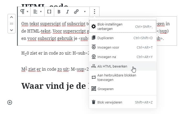Superscript en subscript toevoegen in WordPress Gutenberg