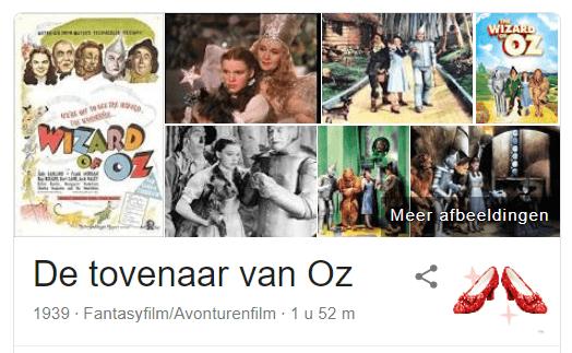 Wizard of Oz Easter Eggs grappen van Google