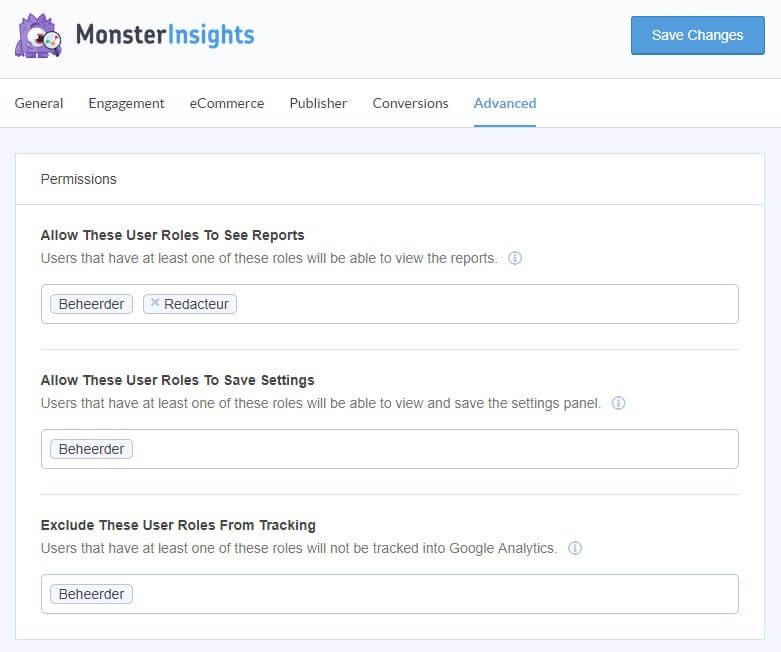 Advanced tab MonsterInsights plugin voor Jezelf uitsluiten van Google Analytic