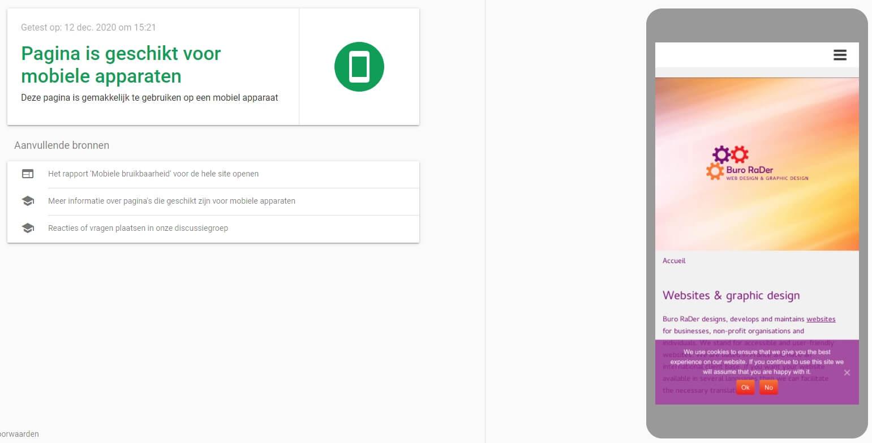 Google mobielvriendelijkheid test voor Buro RaDer website