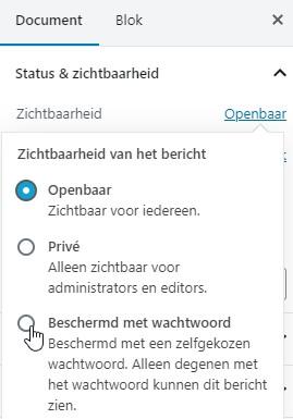 Een WordPress pagina beschermen met een wachtwoord