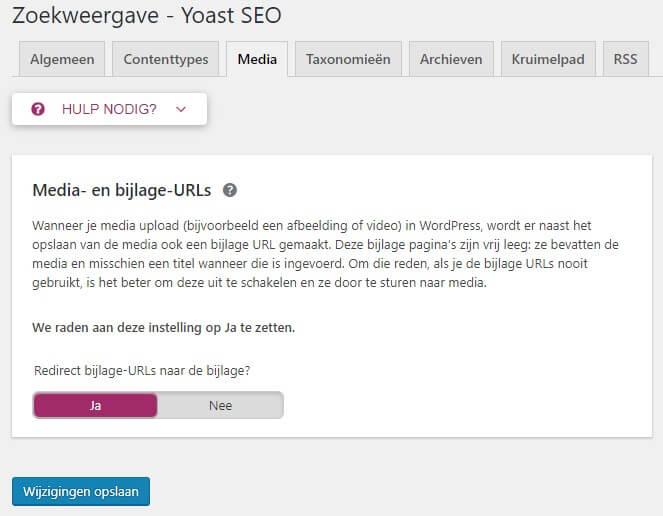 Yoast WordPress media instelling afbeeldingspagina's niet indexeren