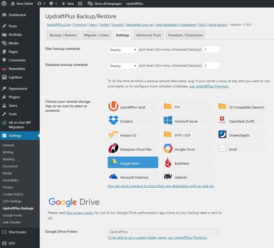 Backup van WordPress website via UpdraftPlus