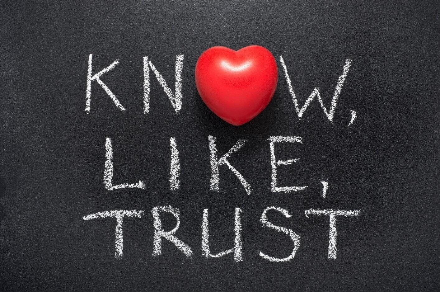 Know Like Trust op bord geschreven