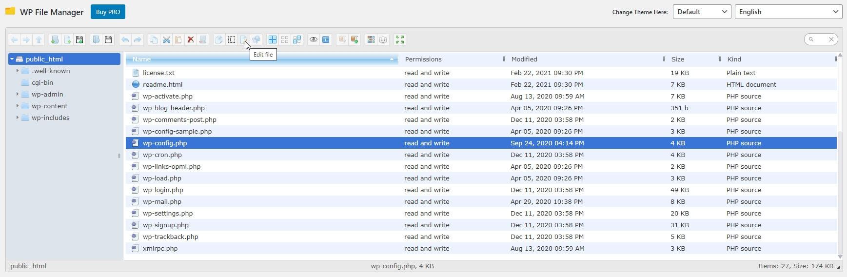 Selecteer Edit file in WP File Manager