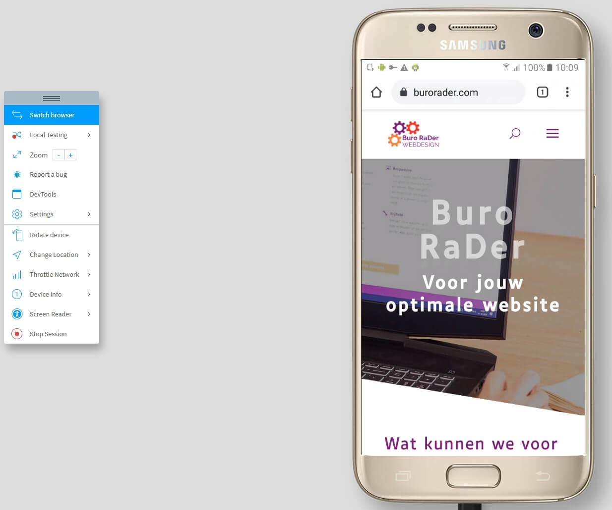 Buro RaDer website in verschillende browsers testen met BrowserStack