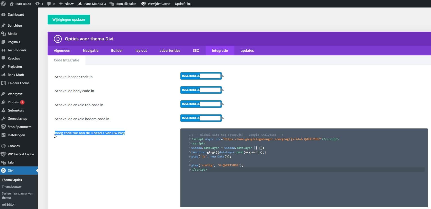 Google analytics code handmatig toevoegen aan Divi