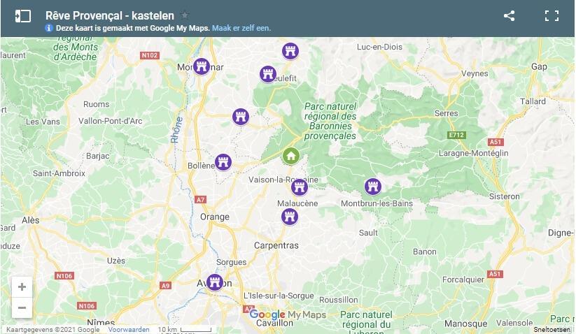 Google Maps kaartje bij blog kastelen in de Provence